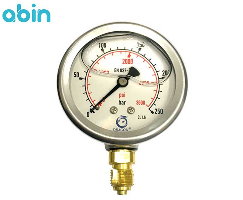 گیج فشار روغنی دراگون 250 بار