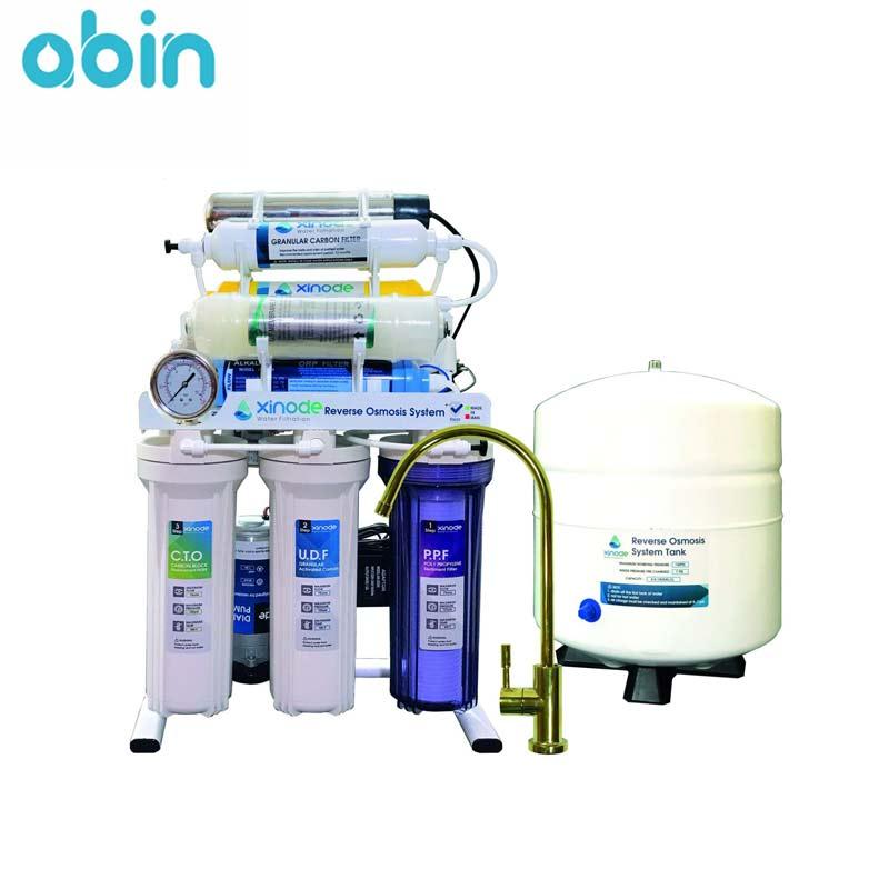 دستگاه تصفیه آب خانگی زینود با شیر اهرمی طلایی